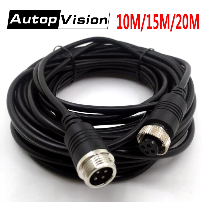Aviation Cable 10M 15M 20M 4Pin Aviation Extension Connector Video Audio Cable Four Core Video Premium Cable for CCTV Camera/DVR ypx 03 10m audio video power extension cable black 10m