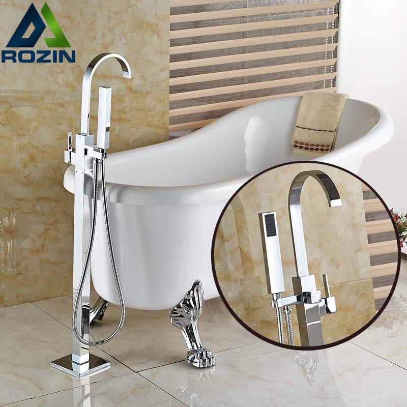 Chrome Floor Mount Bathtub Faucet Brass Single Handle Tub Filler ABS Handshower Free Standing Bathroom Bath