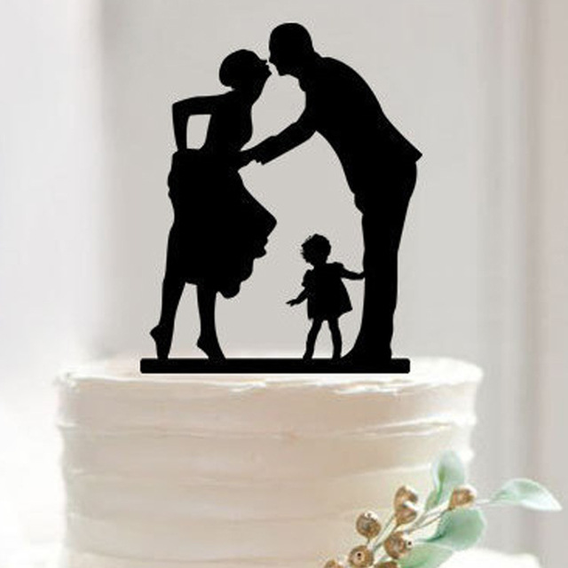 Black Woman White Man Wedding Cake Toppers