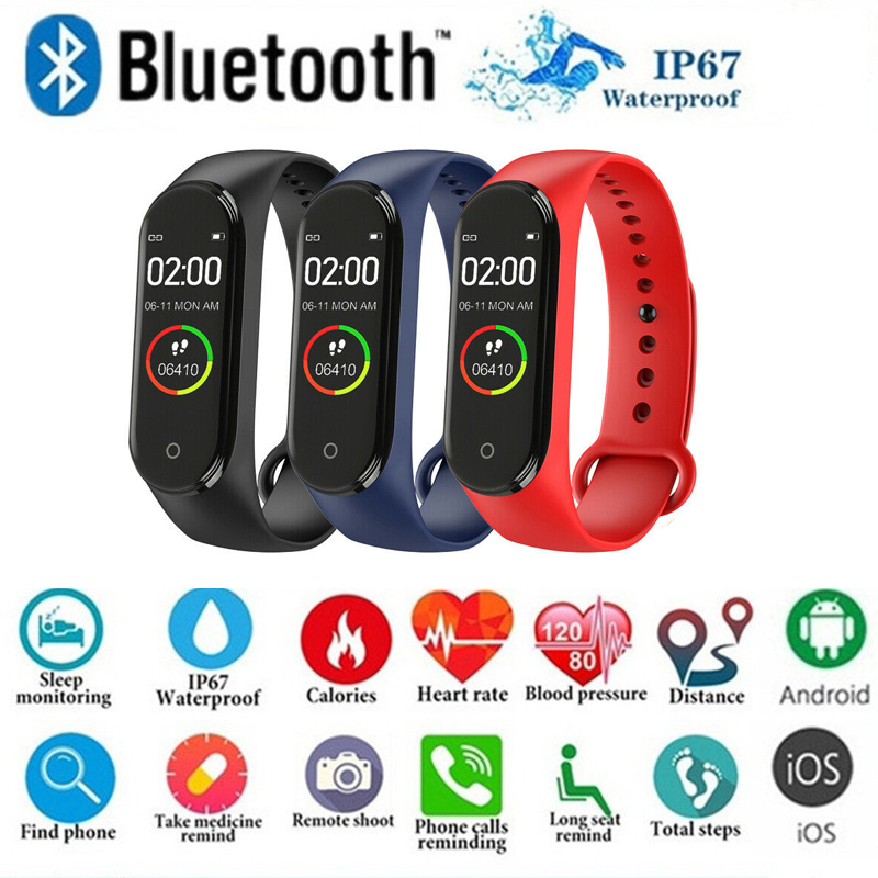 Smart Bracelet Wristband Fitness-Tracker Blood-Pressure-Heart-Rate Monitor Color Waterproof