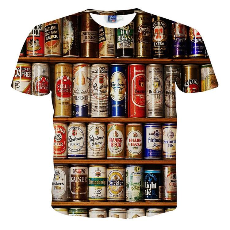 3d Beer Bottle Printed T Shirt