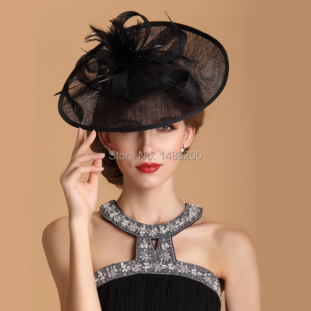 fashion linen feather bridal hats british curling small cap