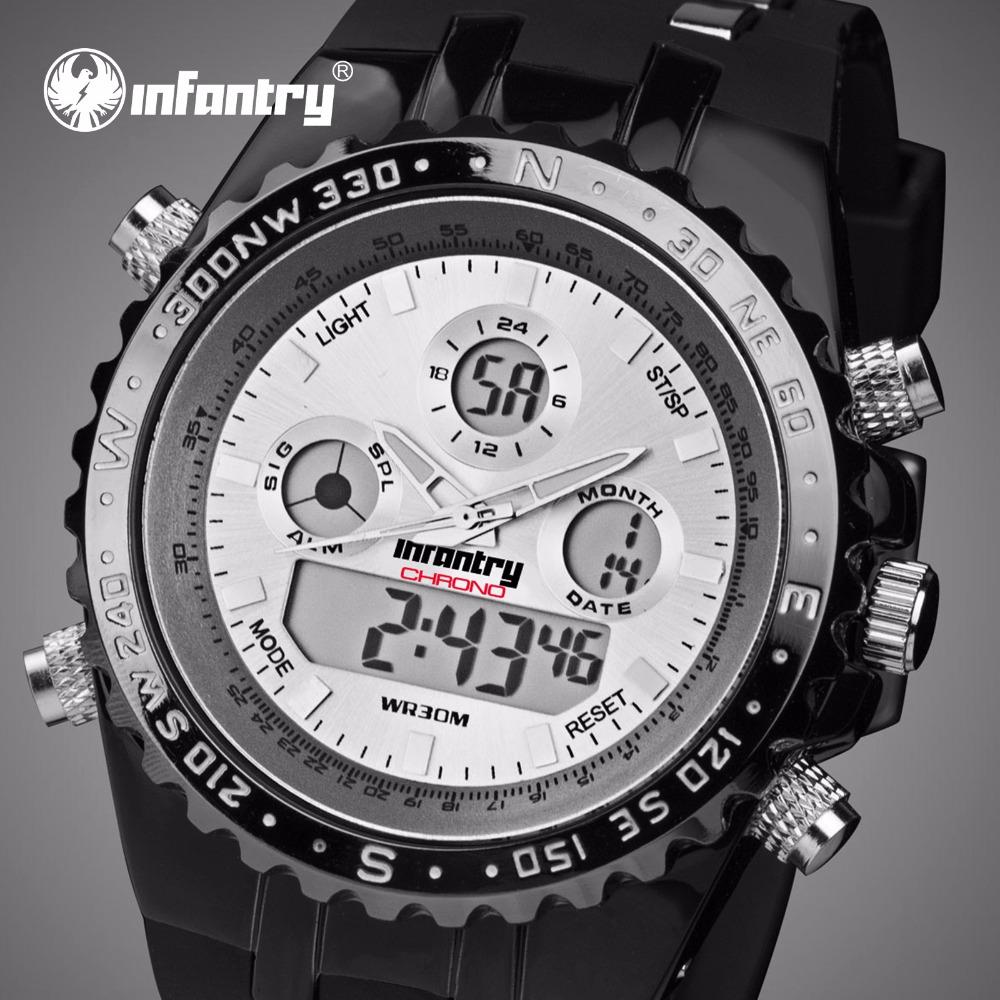 Prix pour INFANTRY Sport Montres Hommes D'origine LED Affichage Numérique Chronomètre Relogio Masculino Étanche Lumineux Montre-Bracelet Alarme Horloges
