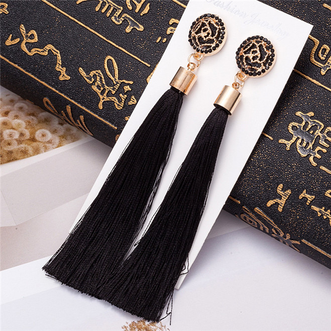 HTB11kWmV9zqK1RjSZPxq6A4tVXa1 - HOCOLE Bohemian Crystal Tassel Earrings Black White Blue Red Pink Silk Fabric Long Drop Dangle Tassel Earrings For Women Jewelry