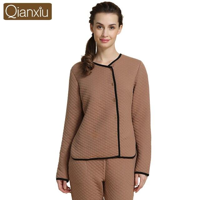 7fd8ae88e3 Qianxiu Pajamas Women Winter Thicken Sleepwear Suit with Buttons Cardigan  Pyjamas