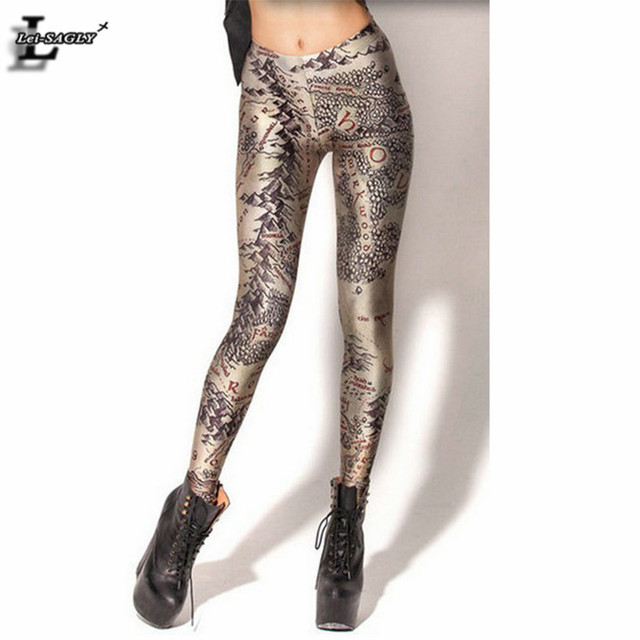 2017 Middle Earth Map Leggings Women Fashion Brand Clothes Digital Print Gothic Creative Fitness Shape Slim Popular Pants BL-099
