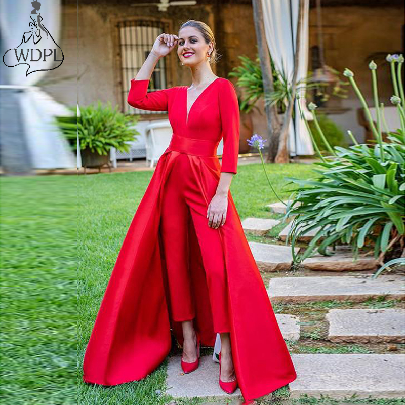 2019 New Red Jumpsuits   Prom     Dresses   3/4 Long Sleeves V Neck Formal Evening Party Gowns Cheap Special Occasion Gowns with Pants