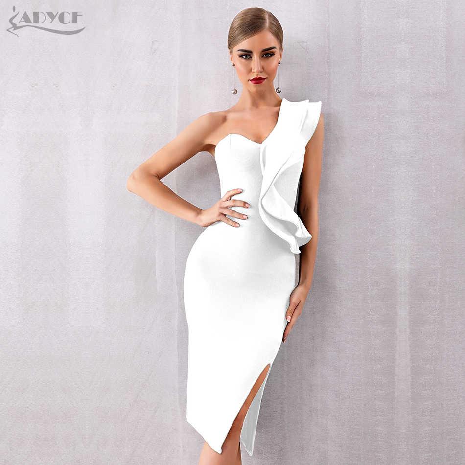 ADYCE 2020 yeni yaz bir omuz kadınlar bandaj elbise ünlü akşam parti elbise seksi fırfır Midi Bodycon kulübü elbise Vestido
