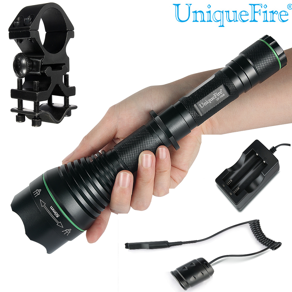 ФОТО A Set Flashlight UniqueFire Tactical Torch Lamp UF-1508 XM-L T50 Lens Led Light 5 Modes Zoomable Flashlight (battery Not Include