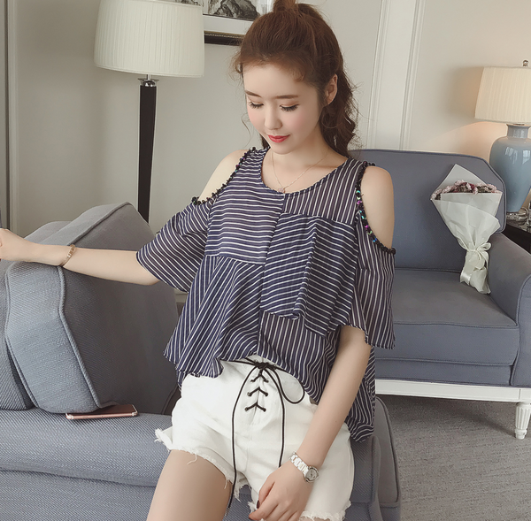 d405c70a9912d 2018 Direct Selling Hot Sale Blusas Body Women Tops Thin Stripe Tunic  Blouse Open Shoulder Tops Sexy Women Summer Sequins -in Blouses   Shirts  from Women s ...