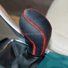 2014 Vauxhall Opel Astra J Collares del Cambio de Engranaje Del Coche Perilla Del Cambio de Engranaje Del Freno de mano de Cuero cosida A Mano Cubierta Car Styling accesorios