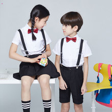 Children's dresses costumes boys school performance school uniform clothing flower girl dress strap family of four dress summer