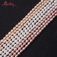 3 3 5mm Natural Oval Freshwater Pearl Gem Stone For DIY Necklace Bracelat Jewelry Making Spacer