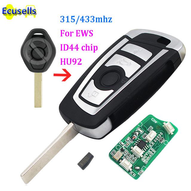 Modified flip 3 Button 315MHZ 433MHZ remote key for BMW EWS 325 330 318 525 530 540 E38 E39 E46 M5 X3 X5 HU92 ID44/ PCF7935 CHIP