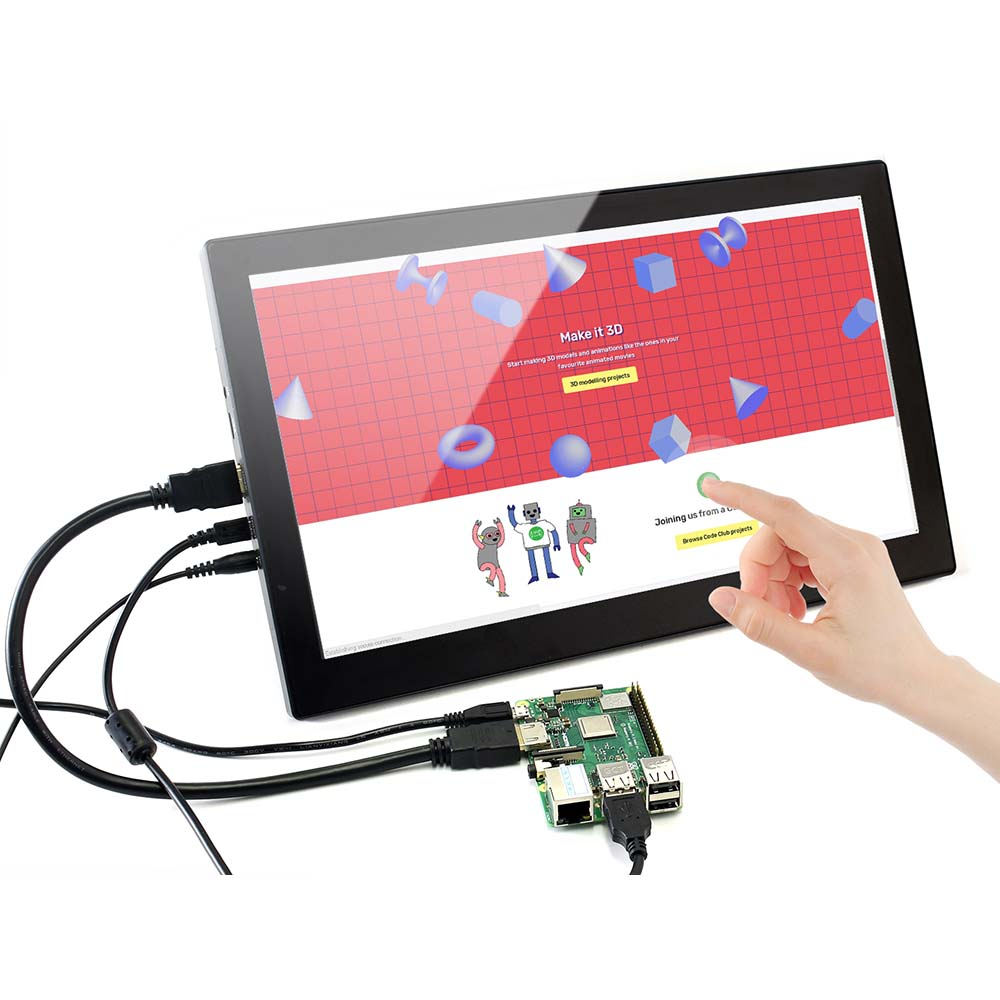 Waveshare 13.3inch IPS Screen 1920x1080 Hardware Resolution Capacitive Touch Screen LCD with Toughened Glass capacitive Touch Panel Supports Multi Systems Multi Mini-PCs Raspberry Pi BB Black etc
