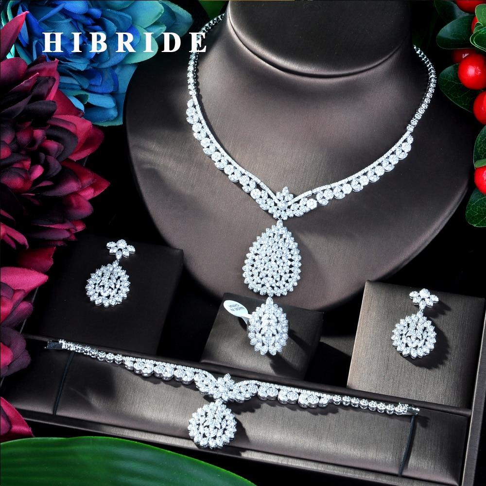 HIBRIDE Flower Design Luxury Women Nigerian Wedding Naija Bride Cubic Zirconia Necklace Dubai 4PCS Dress Jewelry Set  N-03