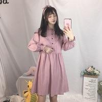Japanese Korean Cute Corduroy Pink Dresses Women Long Sleeve Black Pleated 2018 Mori Girl Vintage Ruffle Lady Shirts Vestidos