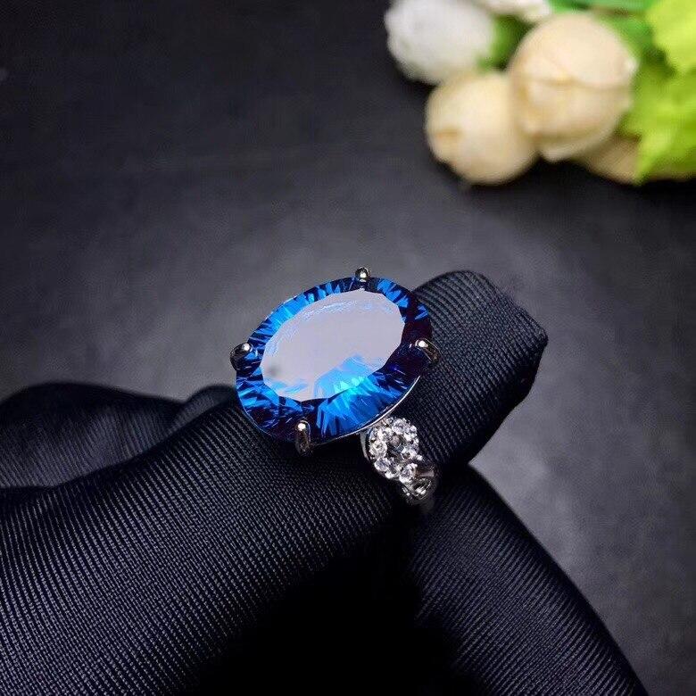 Bague topaze bleue naturelle Uloveido, pierres précieuses 10 carats, bagues en argent 925, bague de naissance, avec certificat et boîte-cadeau 20% FJ304 - 6