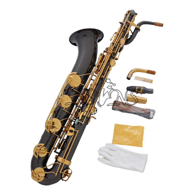 Professional Black Nickel Eb Baritone Saxophone Sax Abalone shell Low A key professional rose gold alto sax eb saxophone abalone shell key with case