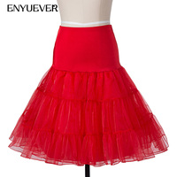 Enyuever Tutu Skirt Retro Crinoline Short Underskirt Midi Plus Size 1950s Swing Skirt Vintage Petticoat Rockabilly