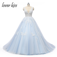Lover Kiss Robe De Mariee 2018 Light Blue Tulle Wedding Dresses Beach Sexy V Neck Lace