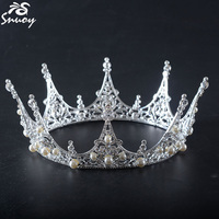 Snuoy Queen Crown For Women Wedding hair accessories Clear Rhinestone Silver Full Round Bridal Crown And Tiara Pageant Headpiece