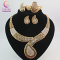 African Costume Jewelry Sets  Gold Plated Crystal Women Fashion Wedding Bridal Accessories Necklace Bangle Earrings Ring Set