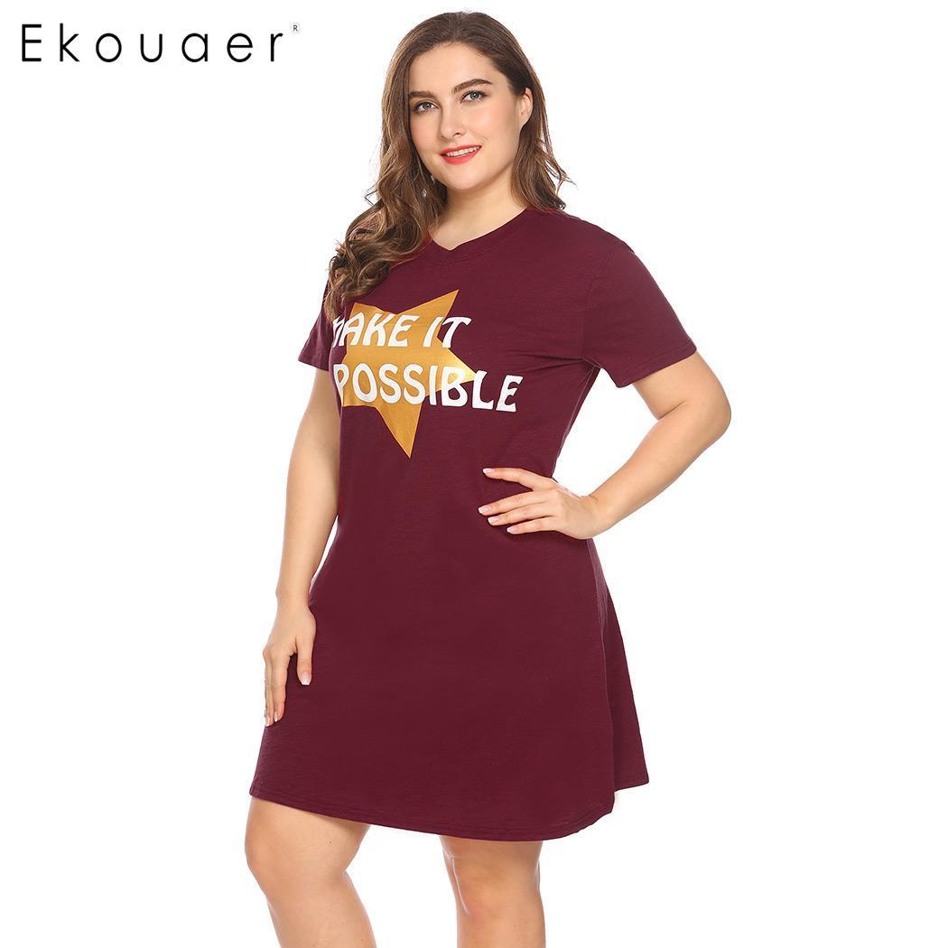 Ekouaer Women Big Size Nightdress Sleepwear Short Sleeve Letter Star Print V-Neck Sleepshirt Nightgown Female Plus Size Homewear 3