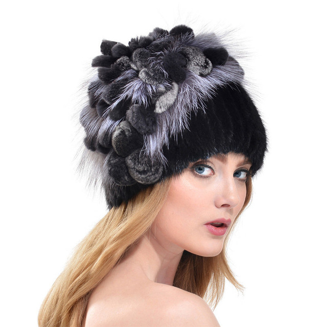 Winter 2016 New Russia Style Fox Fur Ear Cap Mink Fur Hats For Women With Rex Rabbit Fur Flowers Top Fashion Knit Beanies LH308