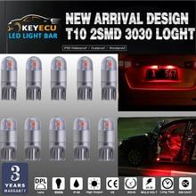 Keyecu 50*194 красный светодиод T10 2SMD 3030 фишек салона Свет ReplacementW5W 168 175 19Map-Dome-Courtesy-License пластины