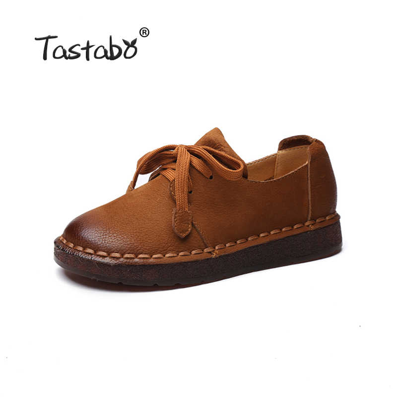 Tastabo 2018 dantel-up Mokasen Rahat Düz Ayakkabı Hamile Kadınlar Ayakkabı Anne Sürüş Ayakkabı Kadın Kadın Flats El dikiş Ayakkabı
