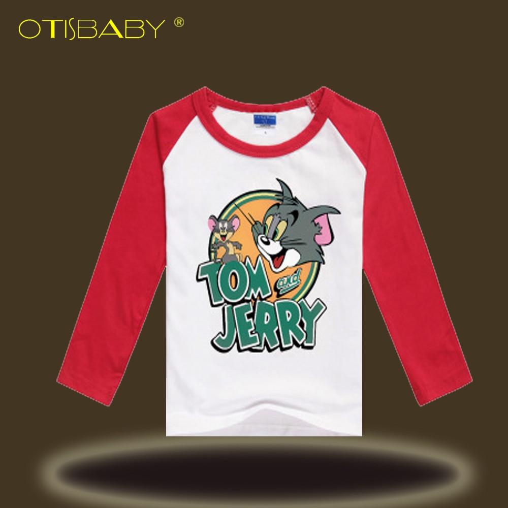 Boys Spring & Autumn Long Sleeve T-shirt Kids Nova T-shirts Cat Mouse Printed Cartoon Anime Tom and Jerry Clothes Sweatshirts