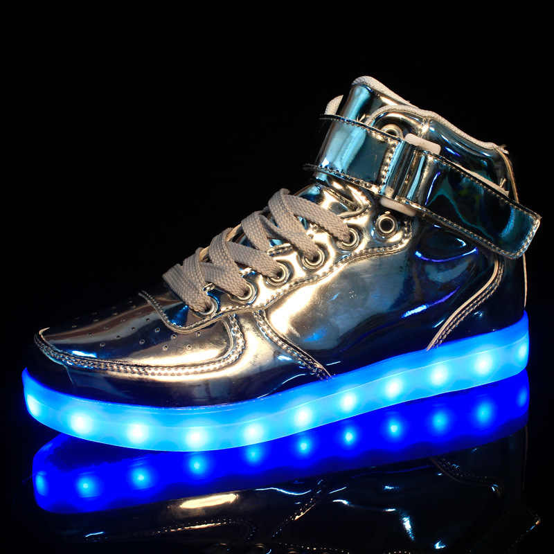 6839628110fe ... Led Shoes 7 Colors LED Luminous Shoes Gold Silver High-top USB Light UP  Basket ...