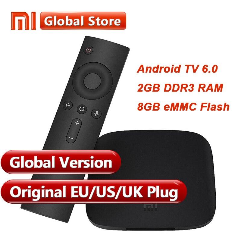 Оригинальная глобальная версия Xiaomi Mi коробка 3 2 ГБ 8 ГБ Android 6,0 Smart К 4 к Ultra HD фильм wifi медиа-проигрыватель Google мульти-язык