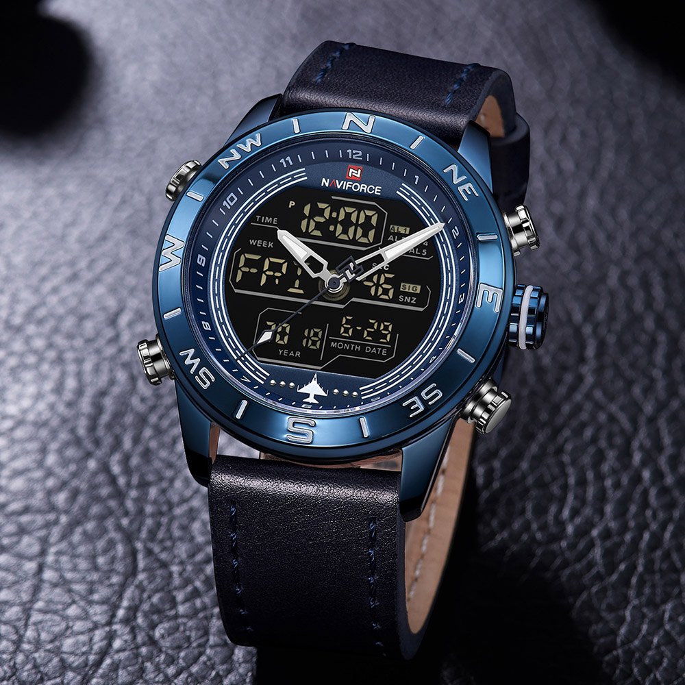 6be66c60e46 NAVIFORCE 9144 Fashion Gold Men Sport Watches Mens LED Analog Digital Watch  Army Military Leather Quartz Watch Relogio Masculino