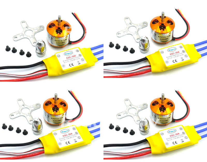4xA2212 1000KV Brushless Motor +4x 30A ESC for Multicopter F450 F550  S500 S550  X525 Quadcopter xxd 4pcs a2212 1000kv brushless motor with 4pcs 30a esc for multicopter quadcopter