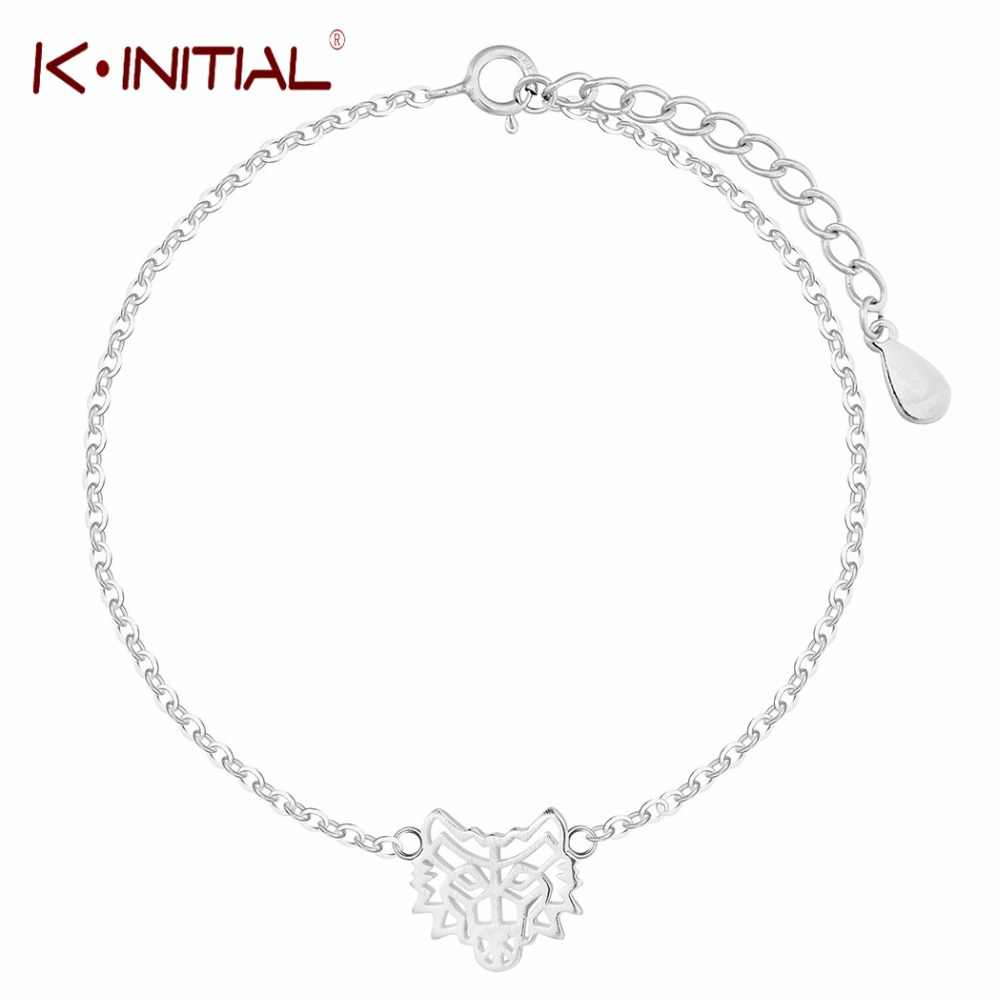 Kinitial 925 Sterling Silver Wolf Bracelet Jewelry Fashion Accessories Bracelet Men Wristband Cuff Bracelets For Women Bangles