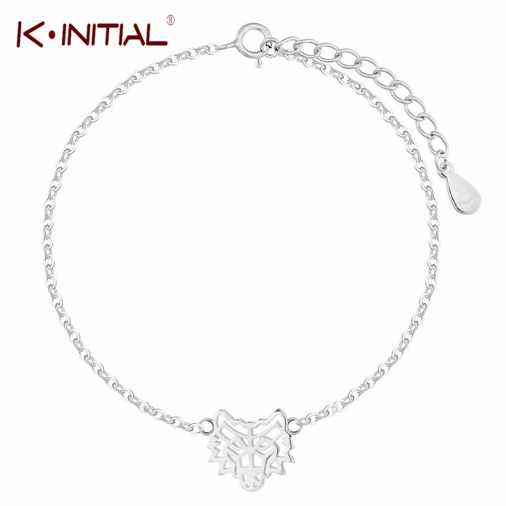 Kinitial Silver Color Wolf Bracelet Jewelry Fashion Accessories Bracelet Men Wristband Cuff Bracelets For Women Bangles