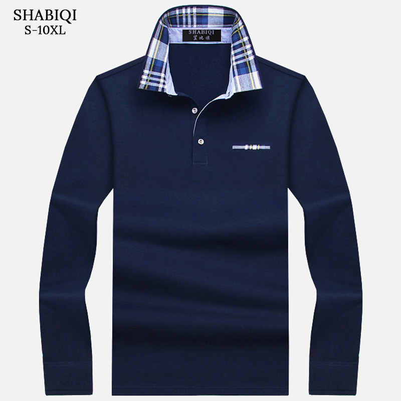 SHABIQI New Brand Men's Polo Shirt Solid Long Sleeve Polo Men Autumn Full Sleeve Warm Men's  Casual Pocket Cotton Tops 6XL-10XL