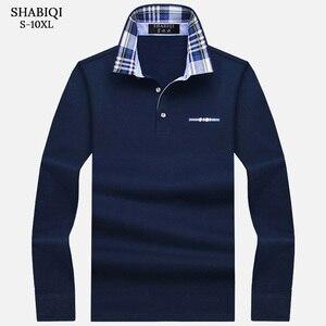 SHABIQI New Brand Men's Polo Shirt Solid Long Sleeve Polo Men Autumn Full Sleeve Warm Men's Casual Pocket Cotton Tops 6XL-10XL(China)