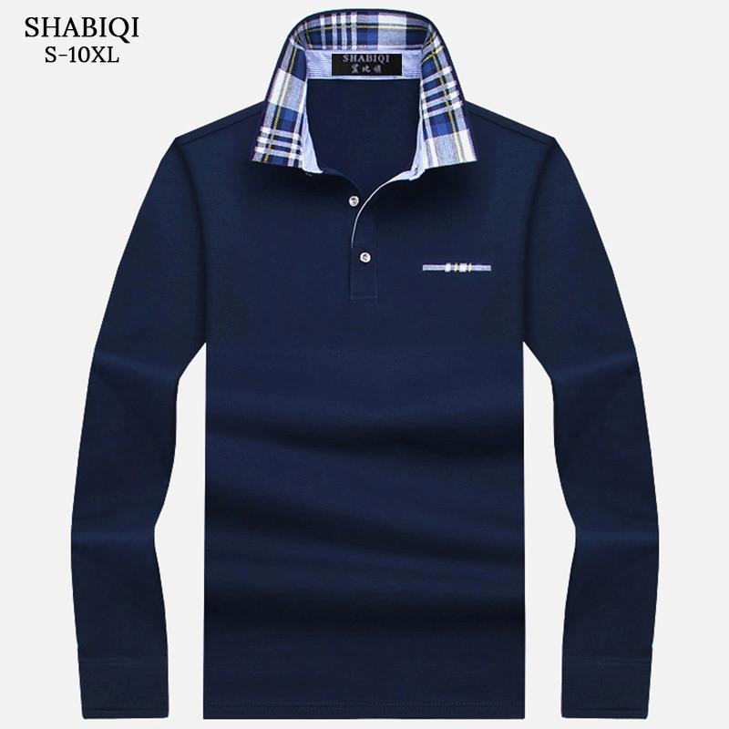 SHABIQI New Brand Men's Solid Long Sleeve   Polo   Shirt Men Autumn Full Sleeve Warm Shirt Casual Pocket Tops Plus Size S-10XL