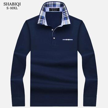 SHABIQI nowa marka męska koszulka Polo jednolity kolor długi rękaw Polo mężczyźni jesień pełna rękaw ciepłe męskie Casual kieszeń bawełniane topy 6XL-10XL tanie i dobre opinie Na co dzień REGULAR Kieszenie Stałe COTTON Plus size Classic Fashion 93 5 S M L XL 2XL 3XL 4XL 5XL 6XL 7XL 8XL 9XL 10XL