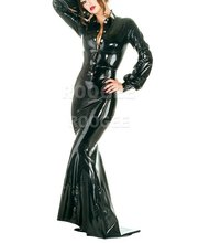 Women 's Latex Rubber sets Fitted top Blouse and skirt