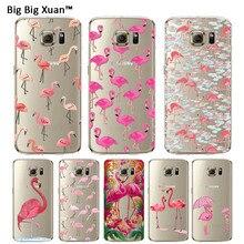 Flamingo rosa caixa do telefone para samsung galaxy s5 s6 edge plus S7 S6Edge S7Edge Transparente Claro TPU Telefone de Volta Tampa Funda Capa