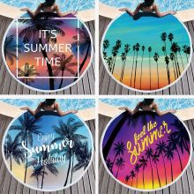 Yaapeet Seaside Sunset Landscape Round Beach Towel with Tassels Microfiber Picnic Yoga Blanket Cover Up Towels Bathroom