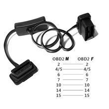 High Quality OBD2 16Pin with Switch Extension Cable Ultra thin Elbow Noodles Cable for ELM327 Car Diagnostic Connector OBD Cord