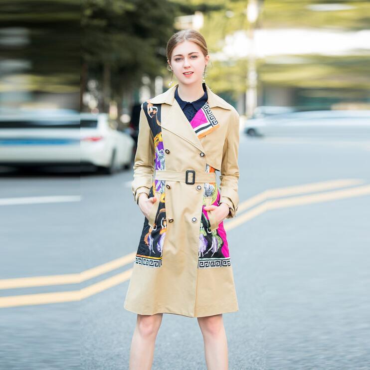 Mode Entaillé Hiver Col Automne À Manches Longues Ceinturé Mince Imprimé Patchwork 2018 Femmes Manteau Boutonnage Double De Tranchée xfq4pzYqw