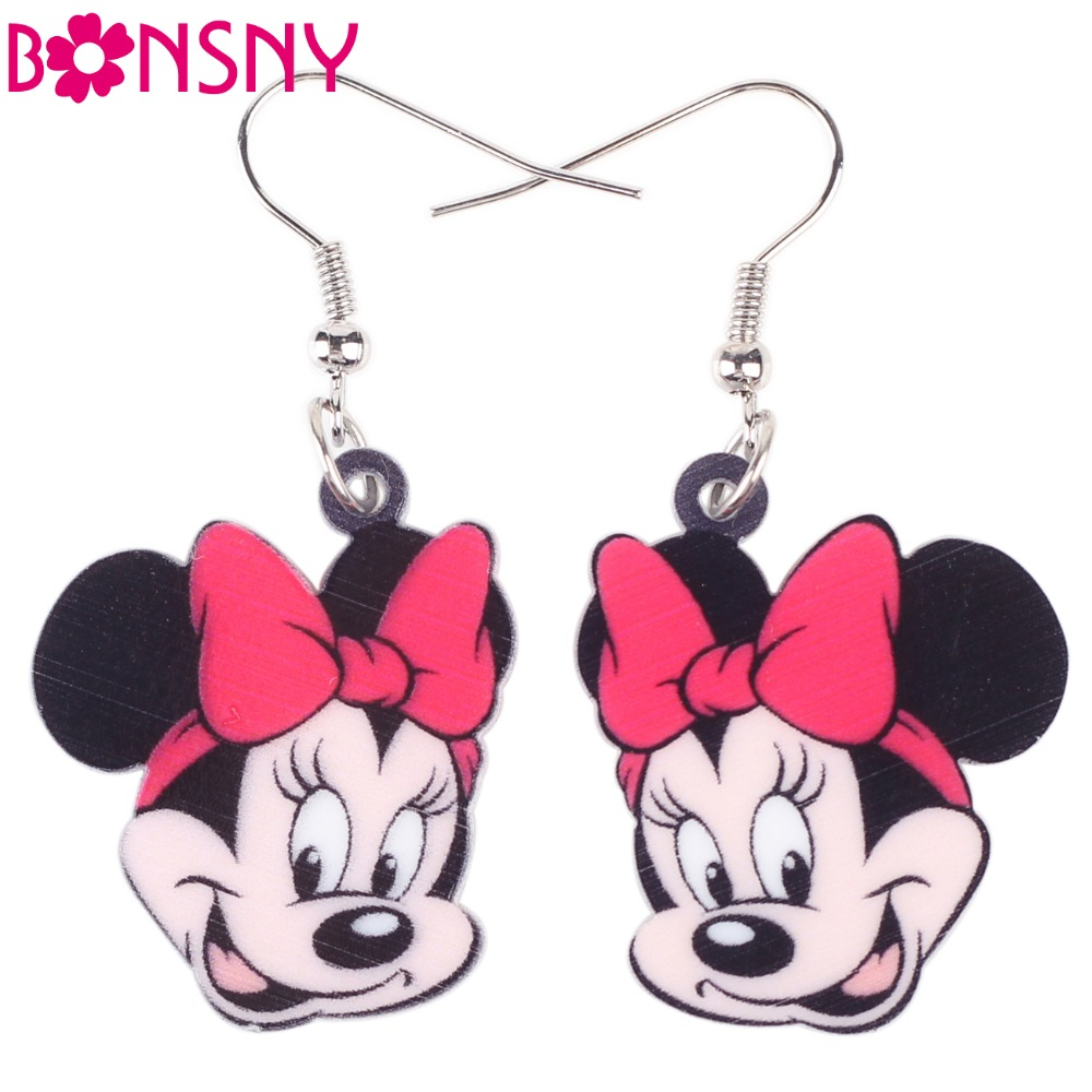 Bonsny Long Drop Brand Cute Smile Mouse Face Earrings