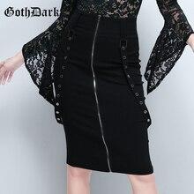 Goth Dark Punk Black Gohtic Grunge Women Skirt 2019 Zipper Patchwork Strap Rivet Vintage Fashion Female Skirts Harajuku Elegant