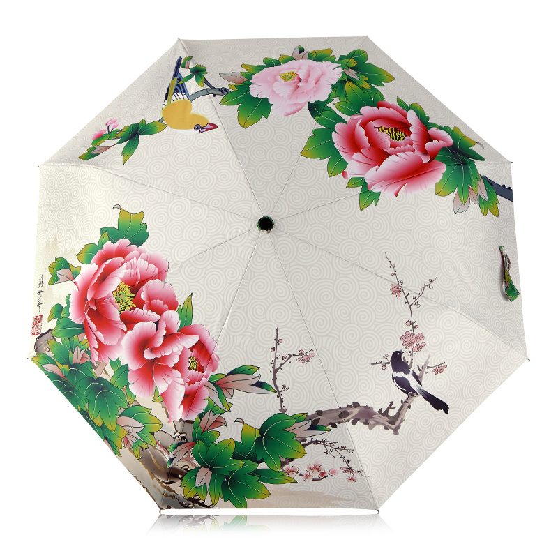 National Style Early Spring Flowers Pattern Women Rain Sun Umbrella 3 Folding 8 Rib Sunshade Wind Resistant Frame Lady Umbrellas